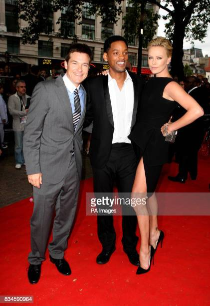 Jason Bateman Will Smith and Charlize Theron arrive for the UK Film Premiere of Hancock at the Vue West End London