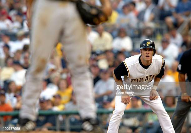 Jason Bay at first base vs Milwaukee at PNC Park in Pittsburgh Pennsylvania July 3 2004