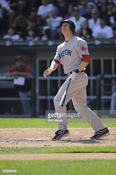 Jason Bay of the Boston Red Sox bats against the Chicago White Sox on September 7 2009 at US Cellular Field in Chicago Illinois The White Sox...