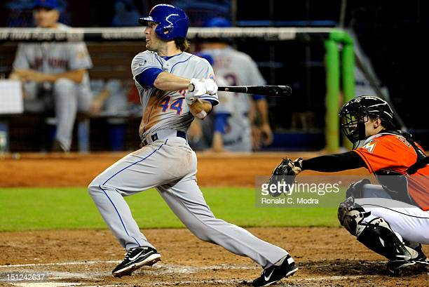 Jason Bay of the New York Mets bats during a MLB game against the Miami Marlins at Marlins Park on September 2 2012 in Miami Florida