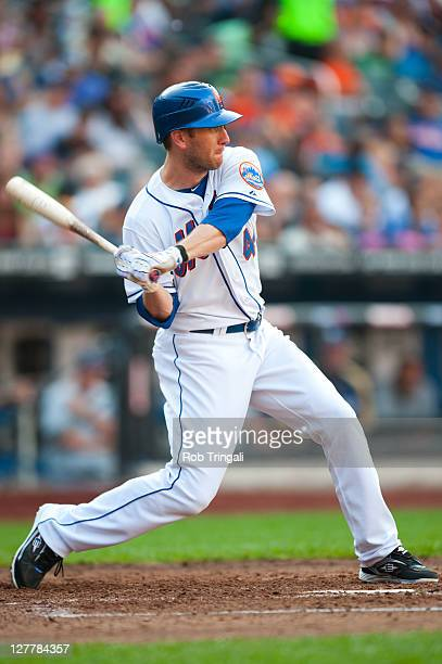Jason Bay of the New York Mets bats during the game against the Milwaukee Brewers at Citi Field on August 20 2011 in the Flushing neighborhood of the...