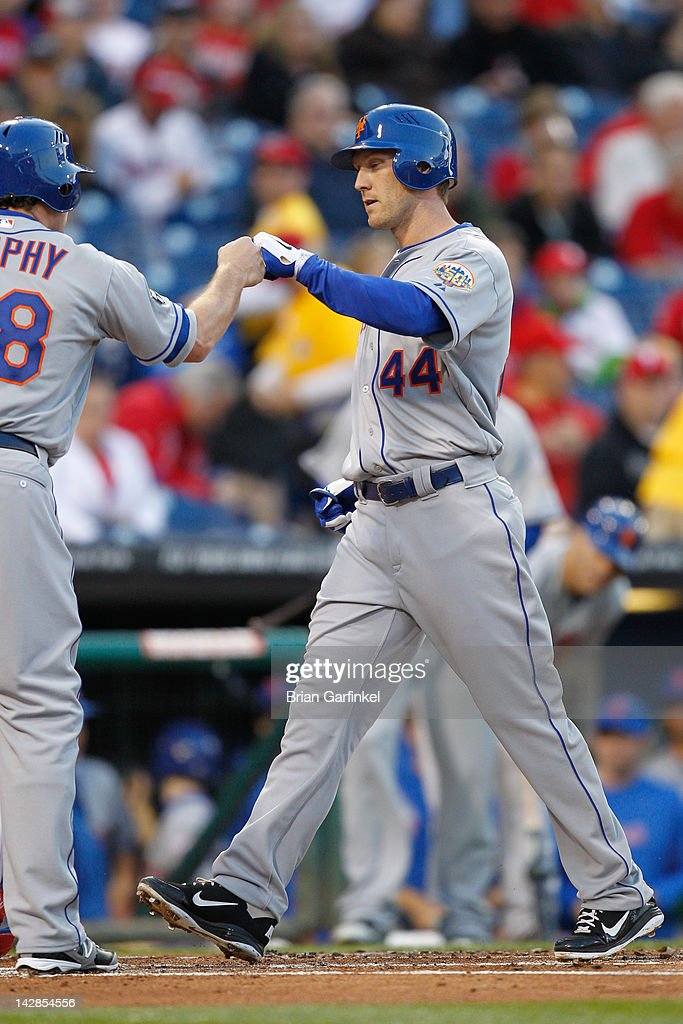 <a gi-track='captionPersonalityLinkClicked' href=/galleries/search?phrase=Jason+Bay&family=editorial&specificpeople=214251 ng-click='$event.stopPropagation()'>Jason Bay</a> #44 of the New York Mets crosses home plate after hitting a home run in the first inning during the game against the Philadelphia Phillies at Citizens Bank Park on April 13, 2012 in Philadelphia, Pennsylvania.