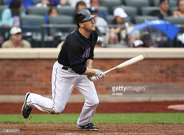 Jason Bay of the New York Mets hits a walk off game winning single in the tenth inning against the New York Yankees on July 3 2011 at Citi Field in...