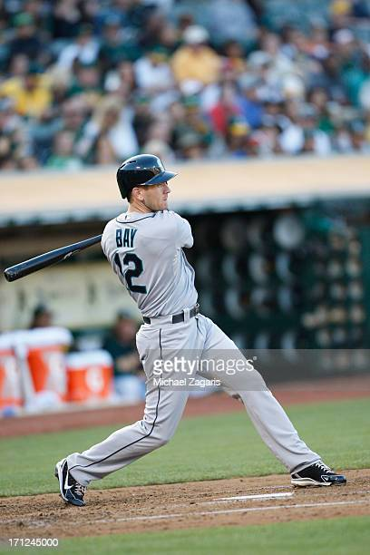 Jason Bay of the Seattle Mariners bats during the game against the Oakland Athletics at Oco Coliseum on June 14 2013 in Oakland California The...