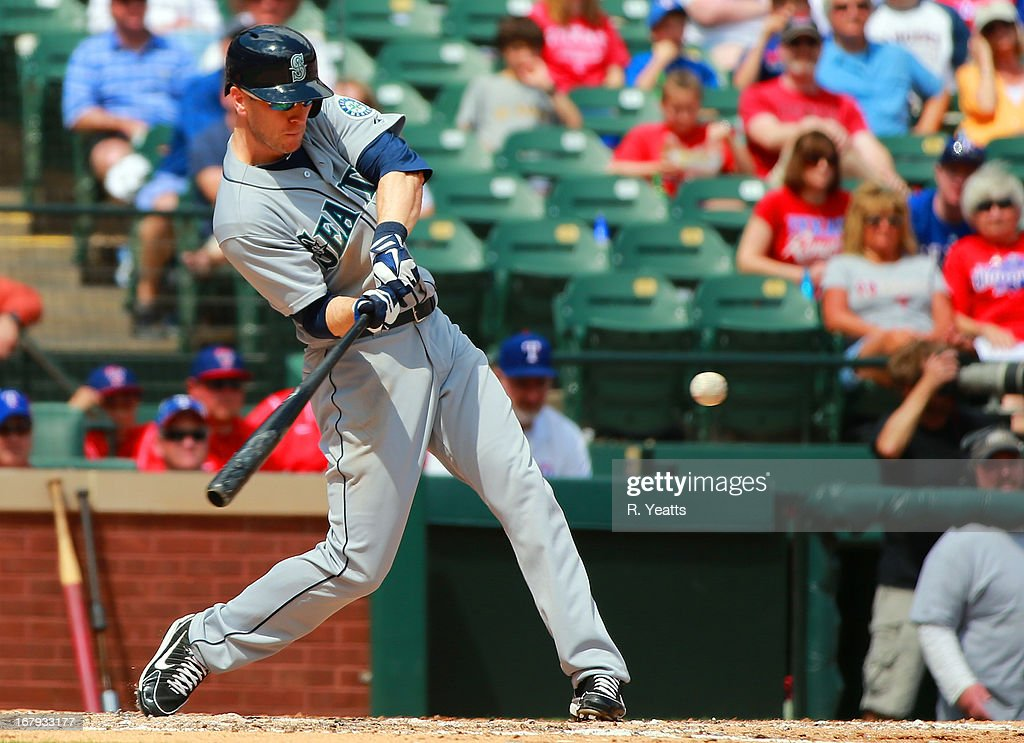 <a gi-track='captionPersonalityLinkClicked' href=/galleries/search?phrase=Jason+Bay&family=editorial&specificpeople=214251 ng-click='$event.stopPropagation()'>Jason Bay</a> #12 of the Seattle Mariners hits against the Texas Rangers at Rangers Ballpark in Arlington on April 21, 2013 in Arlington, Texas.