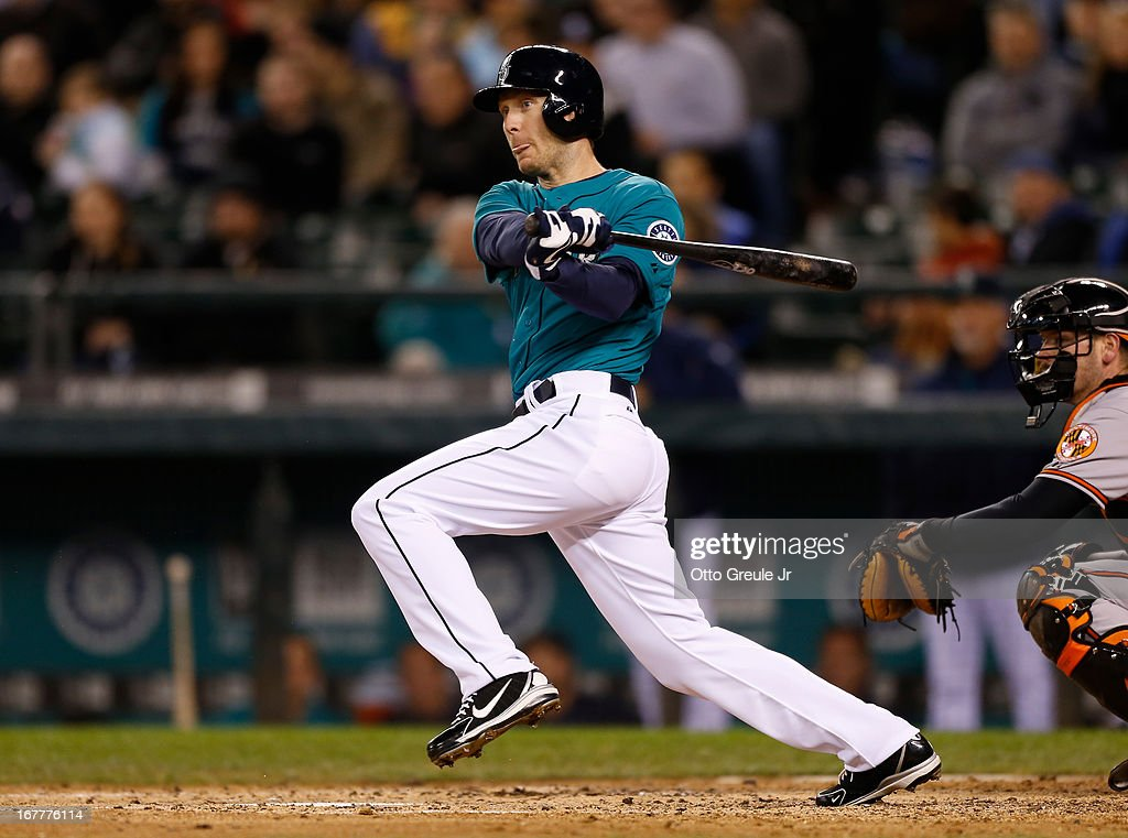 <a gi-track='captionPersonalityLinkClicked' href=/galleries/search?phrase=Jason+Bay&family=editorial&specificpeople=214251 ng-click='$event.stopPropagation()'>Jason Bay</a> #12 of the Seattle Mariners watches his RBI double in the fourth inning against the Baltimore Orioles at Safeco Field on April 29, 2013 in Seattle, Washington.