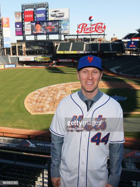 Jason Bay poses for a photo during a press conference to announce his signing to the New York Mets on January 5 2010 at Citi Field in the Flushing...