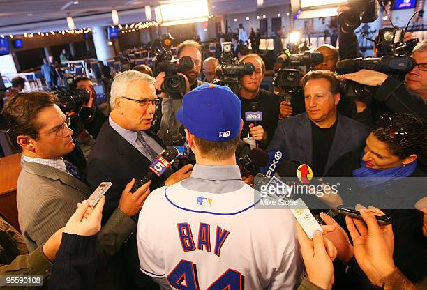 Jason Bay talks to the media during a press conference to announce his signing to the New York Mets on January 5 2010 at Citi Field in the Flushing...