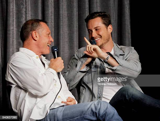 Jason Beghe and Jesse Lee Soffer attend the SAGAFTRA Foundation Conversations with 'Chicago PD' at SAGAFTRA Foundation on June 14 2016 in Los Angeles...