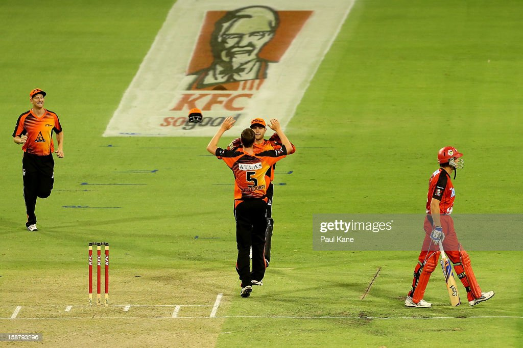 Jason Behrendorff and Tom Triffitt of the Scorchers celebrate the wicket of Ben Rohrer of the Renegades during the Big Bash League match between the Perth Scorchers and the Melbourne Renegads at WACA on December 29, 2012 in Perth, Australia.