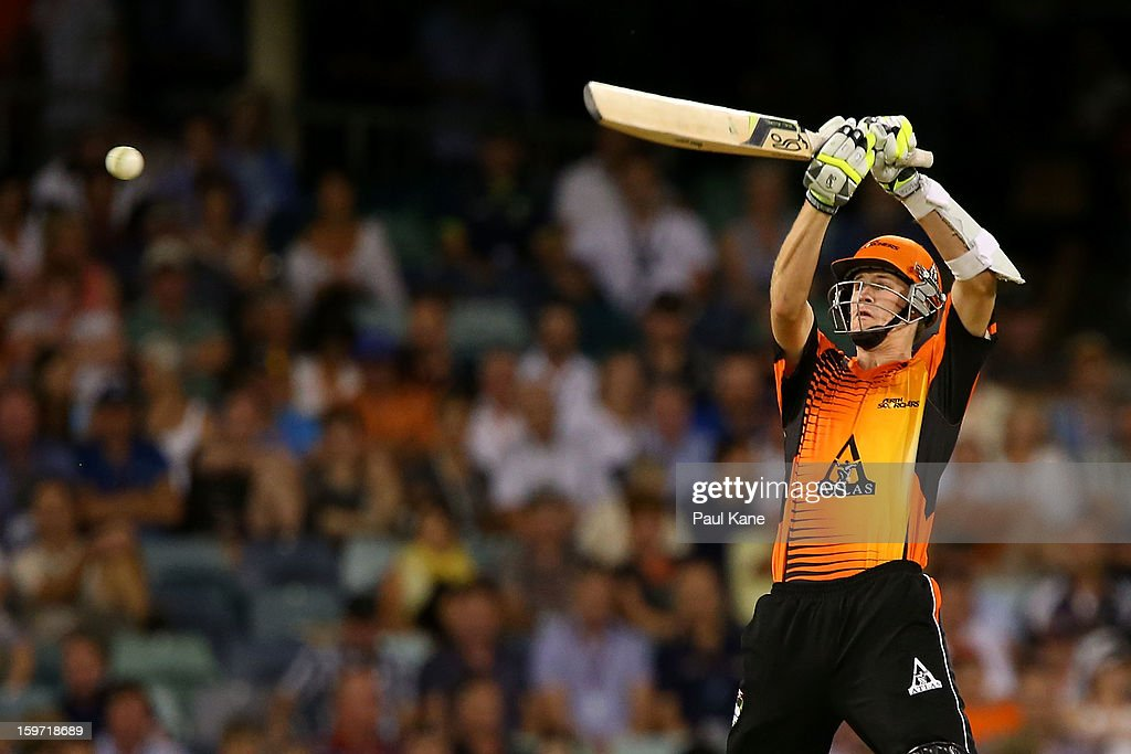 Jason Behrendorff of the Scorchers bats during the Big Bash League final match between the Perth Scorchers and the Brisbane Heat at the WACA on January 19, 2013 in Perth, Australia.
