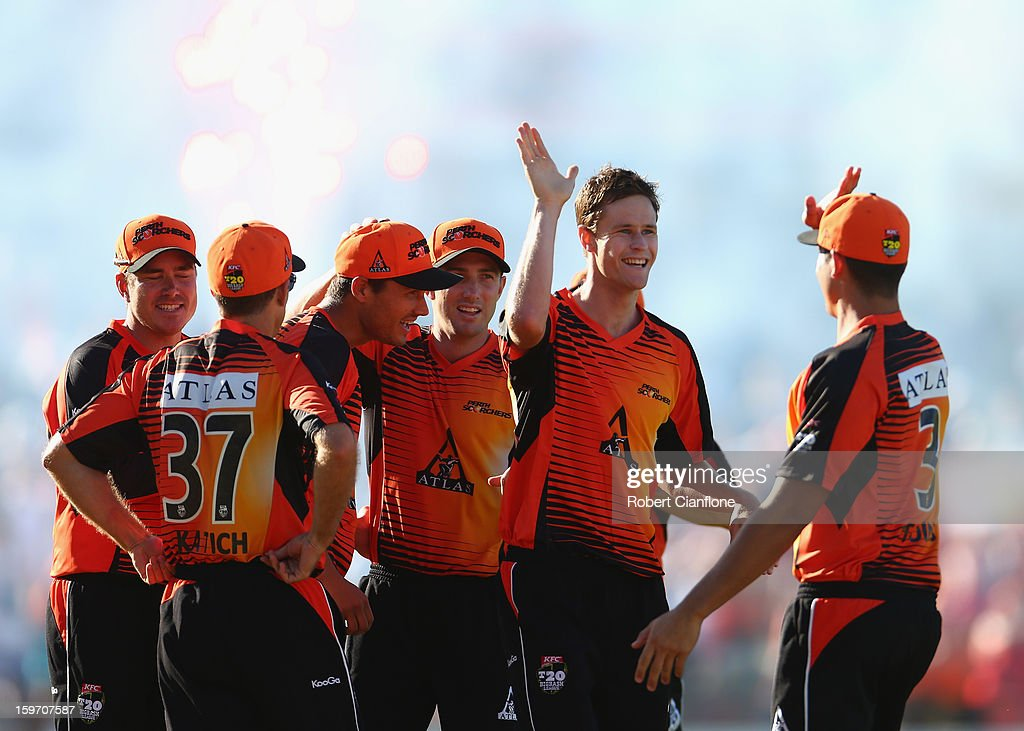 Jason Behrendorff of the Scorchers celebrates taking the wicket of Peter Forrest of the Heat during the Big Bash League final match between the Perth Scorchers and the Brisbane Heat at WACA on January 19, 2013 in Perth, Australia.