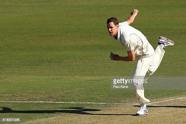 Jason Behrendorff of the Warriors bowls during day two of the Sheffield Shield match between Western Australia and South Australia at the WACA on...