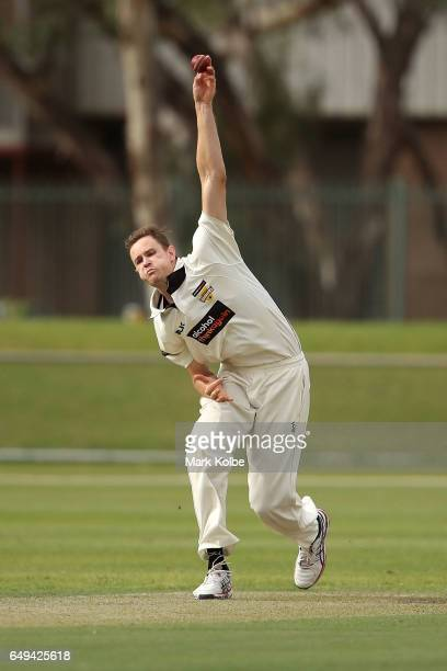 Jason Behrendorff of the Warriors bowls during the Sheffield Shield match between Victoria and Western Australia at Traeger Park on March 8 2017 in...