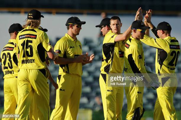 Jason Behrendorff of the Warriors celebrates after taking the wicket of Seb Gotch of the Bushrangers during the JLT One Day Cup match between...
