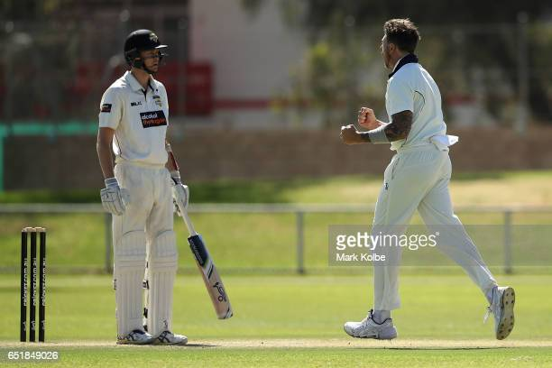 Jason Behrendorff of the Warriors looks dejected after being dismissed by James Pattinson of the Bushrangers during the Sheffield Shield match...