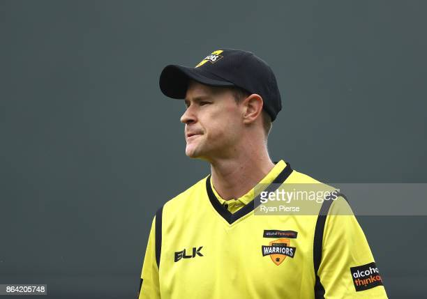 Jason Behrendorff of the Warriors looks on during the JLT One Day Cup Final match between Western Australia and South Australia at Blundstone Arena...