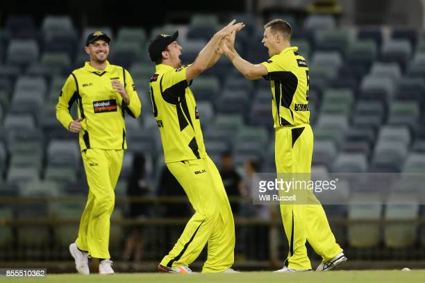 Jason Behrendorff of WA celebrates after taking the wicket of Mickey Edwards of NSW to win the match during the JLT One Day Cup match between New...