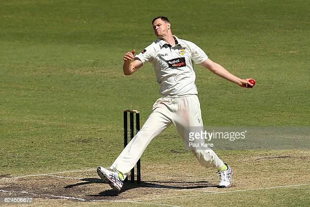 Jason Behrendorff of Western Australia bowls during day four of the Sheffield Shield match between Western Australia and Tasmania at WACA on November...