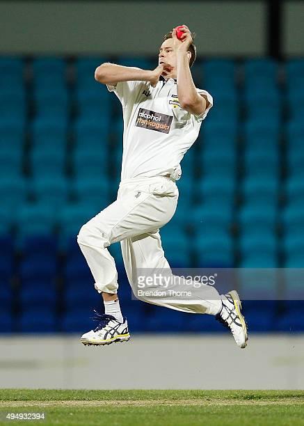 Jason Behrendorff of Western Australia bowls during day three of the Sheffield Shield match between Tasmania and Western Australia at Blundstone...