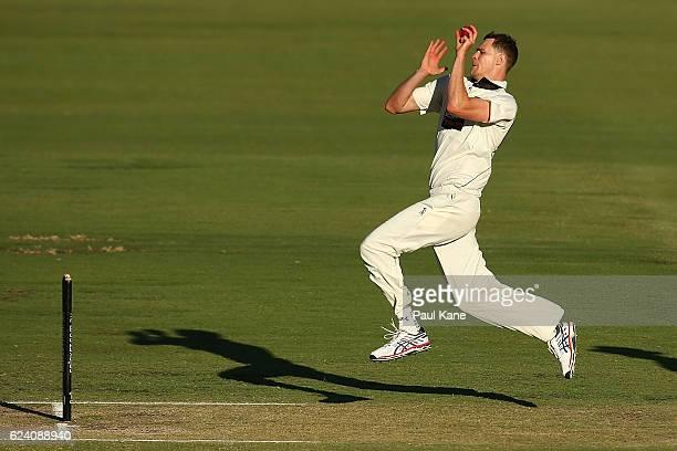 Jason Behrendorff of Western Australia bowls during day two of the Sheffield Shield match between Western Australia and Tasmania at WACA on November...