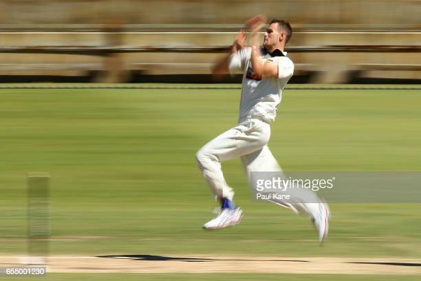 Jason Behrendorff of Western Australia bowls during the Sheffield Shield match between Western Australia and New South Wales at WACA on March 19 2017...