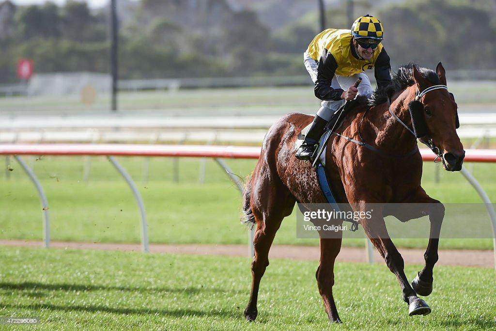 Jason Benbow riding Royal Island winning Race 7, the Midfield Group Wangoom Handicap during Galleywood Day at Warrnambool Racing Club on May 6, 2015 in Warrnambool, Australia.
