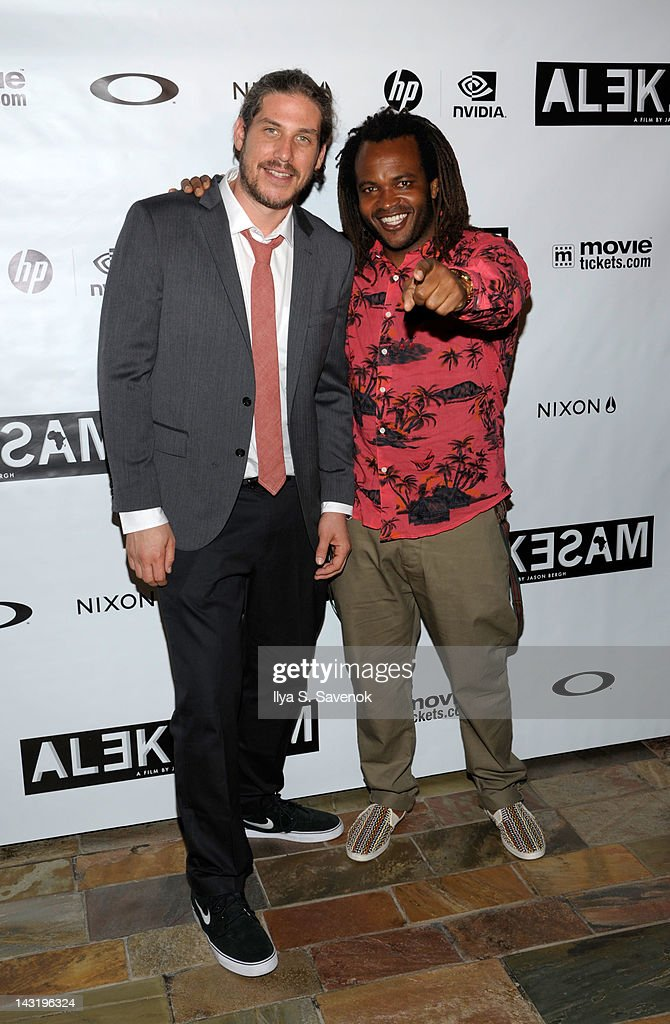 Jason Bergh and <a gi-track='captionPersonalityLinkClicked' href=/galleries/search?phrase=Sal+Masekela&family=editorial&specificpeople=572654 ng-click='$event.stopPropagation()'>Sal Masekela</a> attend the premiere of 'Alekesam' at Tribeca Grand Hotel on April 20, 2012 in New York City.