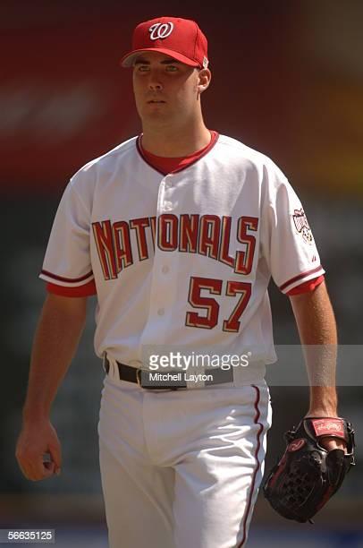 Jason Bergmann of the Washington Nationals walks off the mound during the game against the Atlanta Braves at RFK Stadium on September11 2005 in...