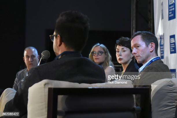 Jason Bernstein Brent Daughrity Berkeley Reinhold Pam Matthews and Tim Epstein speak onstage at the Terms Conditions Power Panel during the IEBA 2017...
