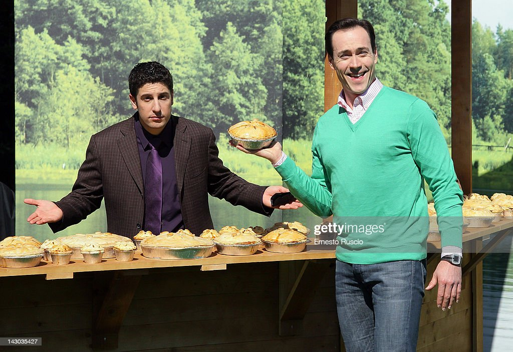 Jason Biggs and Chris Klein attend the 'American Reunion' photocall at La Casa Del Cinema on April 18 2012 in Rome Italy