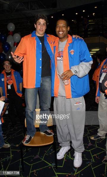 Jason Biggs and Marcus Camby during Knicks Bowl 2 will benefit the Red Holzman Knicks Kids Foundation at Chelsea Piers in New York City New York...
