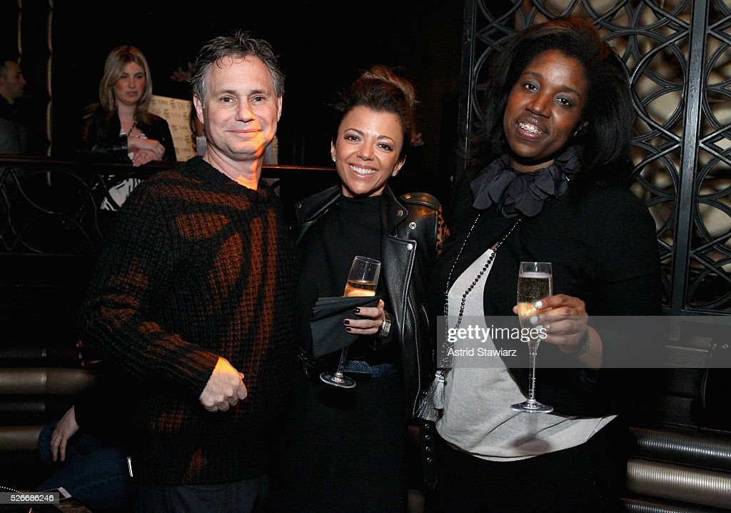 Jason Binn, Adriana Martone and Shari Ajayi attend an exclusive event with DuJour's Jason Binn and Nicole Vecchiarelli to celebrate the 'Steven Tyler...Out On A Limb' charity show benefitting Janie's Fund at LAVO on April 30, 2016 in New York City.