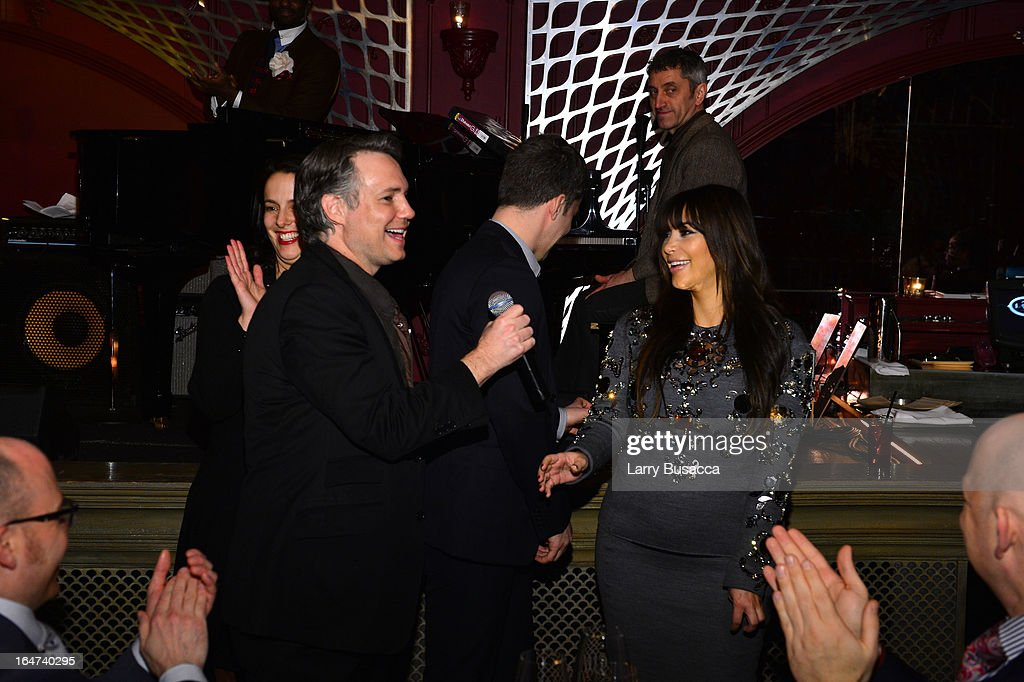 Jason Binn and Kim Kardashian speak at the DuJour Magazine Spring 2013 Issue Celebration at The Darby on March 27, 2013 in New York City.