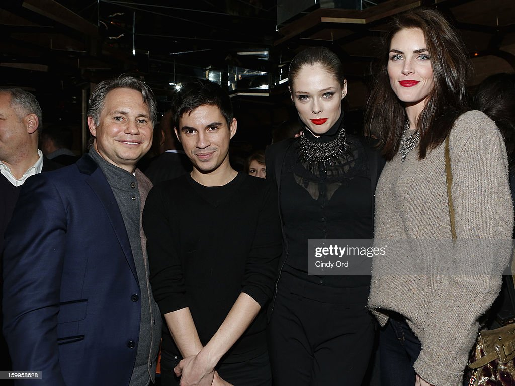 Jason Binn, guest, Coco Rocha, and Hilary Rhoda attend DuJour Magazine Gala with Coco Rocha and Nigel Barker presented by TW Steel at Scott Sartiano and Richie Akiva's The Darby on January 23, 2013 in New York City.