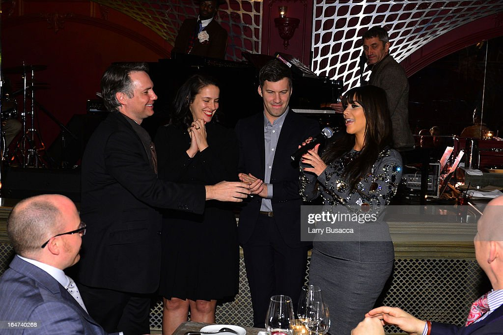 Jason Binn, Nicole Vecchiarelli, Keith Pollock, and Kim Kardashian speak at the DuJour Magazine Spring 2013 Issue Celebration at The Darby on March 27, 2013 in New York City.