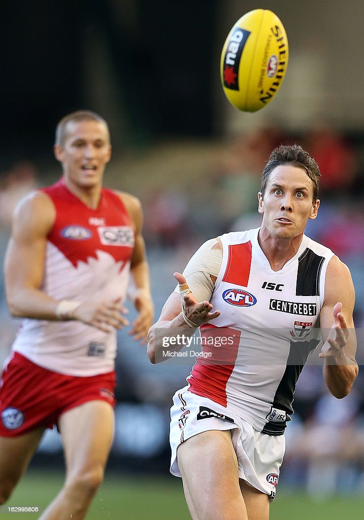 Jason Blake of the St.Kilda Saints marks the ball during the round two AFL NAB Cup match between the St Kilda Saints and the Sydney Swans at Etihad Stadium on March 3, 2013 in Melbourne, Australia.