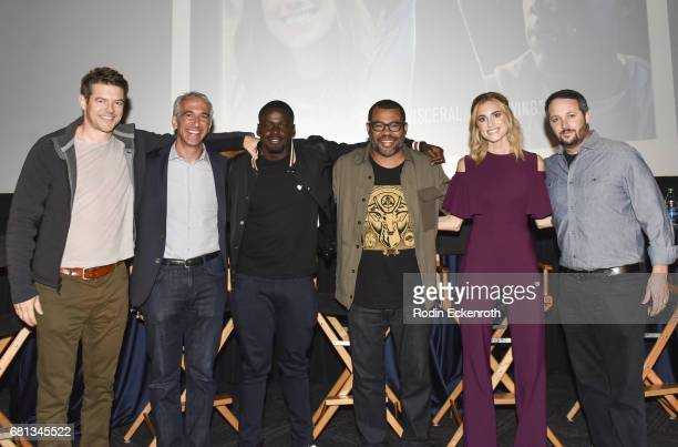Jason Blum Scott Mantz Daniel Kaluuya Jordan Peele Allison Williams Sean McKittrick pose for portrait at the discussion and QA for 'Get Out' in...