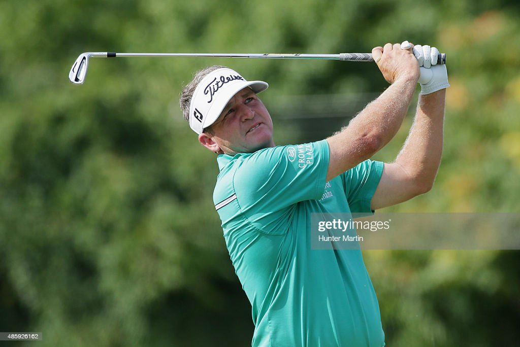 Jason Bohn of the United States in action during the third round of The Barclays at Plainfield Country Club on August 29, 2015 in Edison, New Jersey.