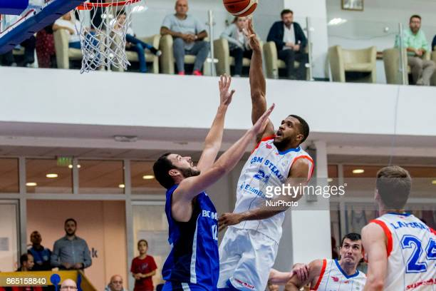 Jason Boone and Szabolcs Santa during the LNBM Men's National Basketball League game between CSM Steaua Bucharest and BC Mures TarguMures at Sala...