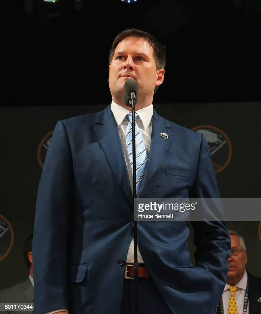 Jason Botterill of the Buffalo Sabres attends the 2017 NHL Draft at the United Center on June 23 2017 in Chicago Illinois
