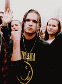 Jason Brady a fan of grunge rock star Kurt Cobain shows his arm bearing the mispelled phrase 'Kurdt Lives' Brady was one of about 5000 fans of the...