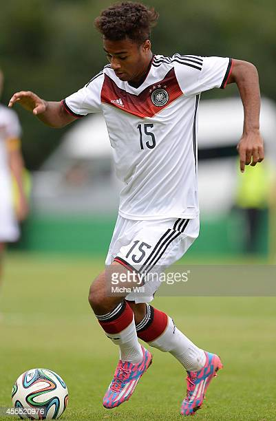 Jason Breitenbach of Germany controls the ball during the KOMM MIT tournament match between U17 Germany and U17 Israel on September 14 2014 in Rain...