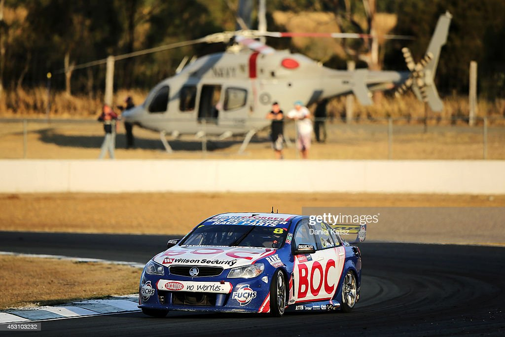 <a gi-track='captionPersonalityLinkClicked' href=/galleries/search?phrase=Jason+Bright&family=editorial&specificpeople=211178 ng-click='$event.stopPropagation()'>Jason Bright</a> drives the #8 Team BOC Holden during race 25 for the Ipswich 400, which is round eight of the V8 Supercar Championship Series at Queensland Raceway on August 3, 2014 in Ipswich, Australia.
