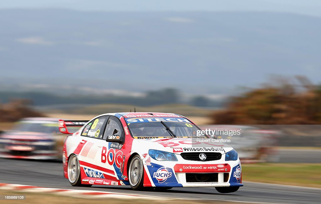 <a gi-track='captionPersonalityLinkClicked' href=/galleries/search?phrase=Jason+Bright&family=editorial&specificpeople=211178 ng-click='$event.stopPropagation()'>Jason Bright</a> drives the #8 Team BOC Holden during race five of round two of the V8 Supercar Championship Series at Symmons Plains Raceway on April 7, 2013 in Launceston, Australia.