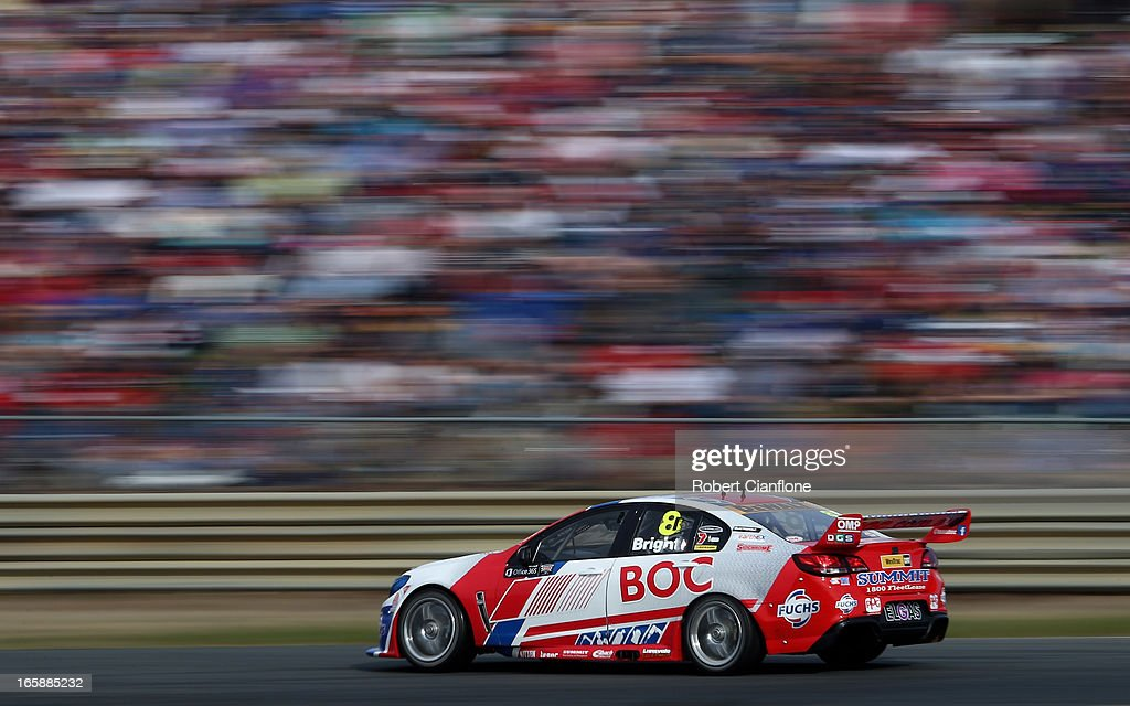 <a gi-track='captionPersonalityLinkClicked' href=/galleries/search?phrase=Jason+Bright&family=editorial&specificpeople=211178 ng-click='$event.stopPropagation()'>Jason Bright</a> drives the #8 Team BOC Holden during race four for round two of the V8 Supercar Championship Series at Symmons Plains Raceway on April 7, 2013 in Launceston, Australia.