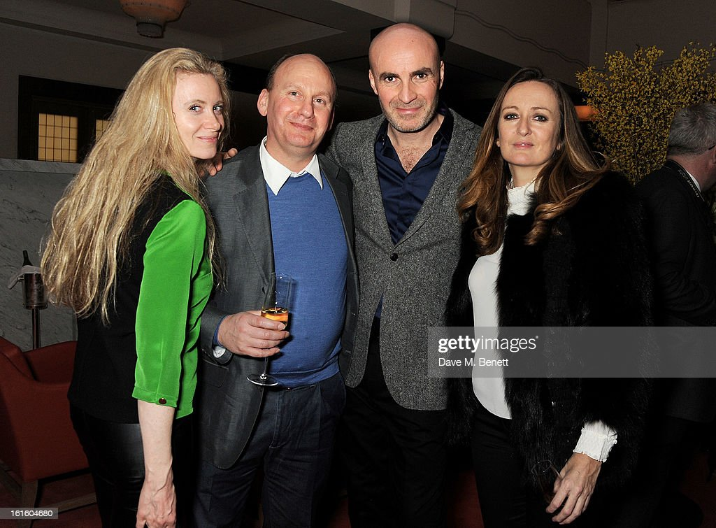 Jason Brooks (2R), Lucy Yeomans (R) and guests attend a private dinner hosted by Lucy Yeomans celebrating Jason Brooks at Cafe Royal on February 12, 2013 in London, England.
