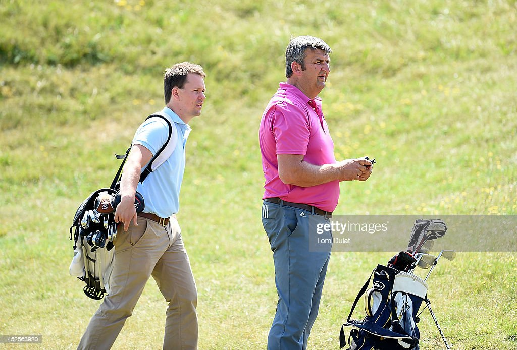 Jason Brown (R) and James O'Hara (L) of Lanhydrock Golf CLub look on during the Lombard Trophy West Regional Qualifier at Burnham and Berrow Golf Club on July 23, 2014 in Burnham-on-Sea, England.