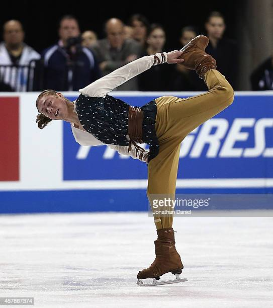 Jason Brown competes during the Men Free Skating during the 2014 Hilton HHonors Skate America competition at the Sears Centre Arena on October 25...