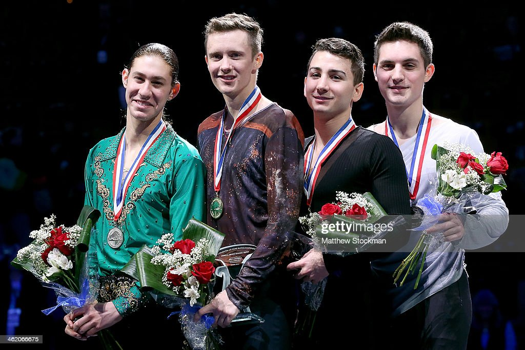 Jason Brown, Jeremy Abbott, Max Aaron and Joshua Farris pose for photographers on the medals podium after the men's competition during the Prudential U.S. Figure Skating Championships at TD Garden on January 12, 2014 in Boston, Massachusetts.